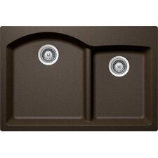 """Edo 33"""" x 21.88"""" Cristadur 70/30 Undermount Double Bowl Kitchen Sink"""