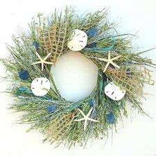 "Seaglass 22"" Dried Grasses Wreath"