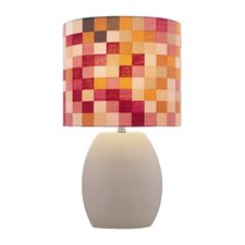 """Ceramic Checkered 17"""" H Table Lamp with Drum Shade"""