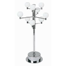 Nine Light Accent Lamp in Chrome with Frosted Glass