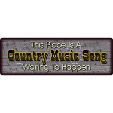 Country Music Song Tin Sign Wall Art in Brown (Set of 3)