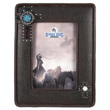 """4"""" x 6"""" Leather Look Bling Picture Frame"""