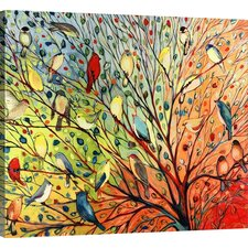'Twenty Seven Birds' by Jennifer Lommers Painting Print on Wrapped Canvas