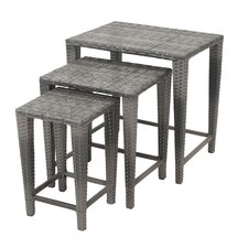 Lionel 3 Piece Wicker Nesting Table Set
