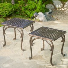 Potenza Cast Aluminum Bronze Outdoor Side Table (Set of 2)