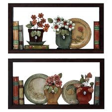 2 Piece Faux Bookshelves Wall Décor Set
