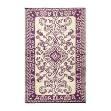 Classic Violet & Ivory Outdoor Area Rug