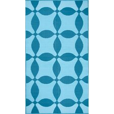 Optic Teal/Turquoise Outdoor Area Rug