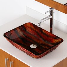 Hot Melted Contrasting Stained Wood Hand Painted Rectangle Flat Bottom Vessel Bathroom Sink