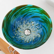 Whirlpool Splash Hand Painted Bowl Vessel Bathroom Sink