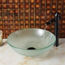Double Layered Tempered Glass Round Bowl Vessel Bathroom Sink