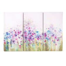 Watercolor Meadow 3 Piece Painting Print on Canvas Set