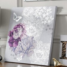 'Floral Metallic' Graphic Art on Wrapped Canvas