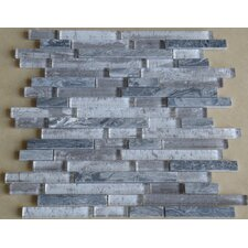 Parallel Random Sized Glass Mosaic Tile in Grey