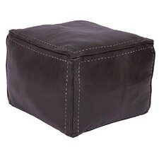 Moroccan Leather Square Pouf