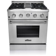 Yin 4.2 Cu. Ft. Gas Convection Range in Stainless Steel