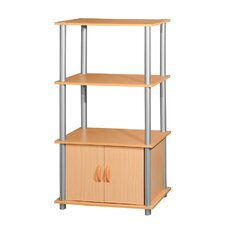 Two Storage Shelf with Cabinet Shelving Unit