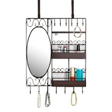 Over the Door Vanity Organizer Scroll Wall Mounted Jewelry Holder