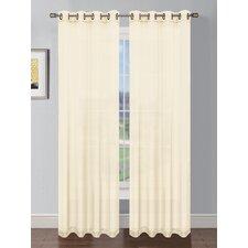 Sheer Elegance Faux Linen Grommet Extra Wide Curtain Panels (Set of 2)