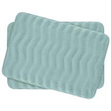 Waves Small 2 Piece Premium Micro Plush Memory Foam Bath Mat Set (Set of 2)