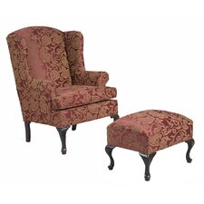 Damask Wingback Chair and Ottoman Set by Serta Upholstery