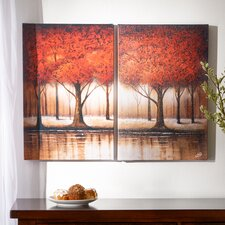 Autumn Trees 2 Piece Painting Print Set on Wrapped Canvas