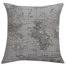 Map Feather Filled Throw Pillow