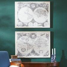 2 Piece World Map Graphic Art Set (Set of 2)