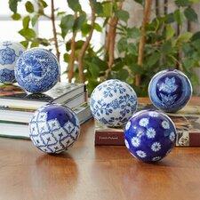 Blue Floral 6-Piece Decorative Ball Set