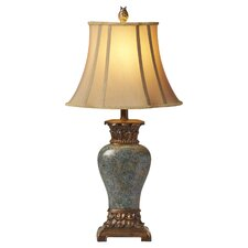 """Steel Blue 30.5"""" Table Lamp with Bell Shade"""