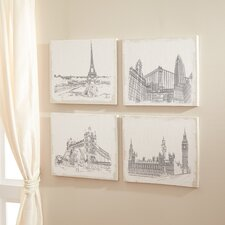 Burlap Cities 4 Piece Graphic Art Set (Set of 4)
