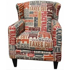Flash Word Arm Wing Chair