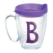 "Initials Sequins ""B"" 15 Oz. Mug with Lid"