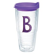 "Initials Sequins ""B"" 24 Oz. Tumbler with Lid"