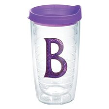 "Initials Sequins ""B"" 16 Oz. Tumbler with Lid"