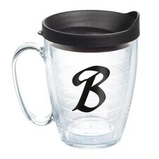 "Initials ""B"" Scroll 15 Oz. Mug with Lid"