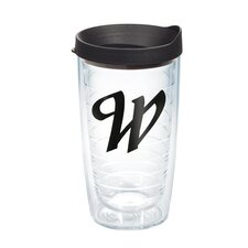 """Initials """"W"""" Scroll 16 Oz. Tumbler with Lid"""
