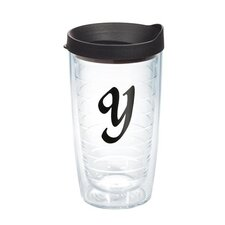 """Initials """"Y"""" Scroll 16 Oz. Tumbler with Lid"""