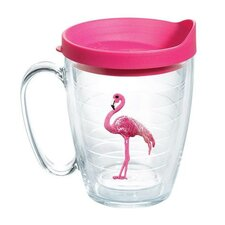 Sun and Surf Flamingo Mug with Lid