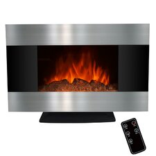 "36"" Freestanding Stainless Steel Electric Fireplace with LED Backlight"