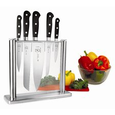 Renaissance 6 Piece Stainless and Glass Forged Knife Block Set