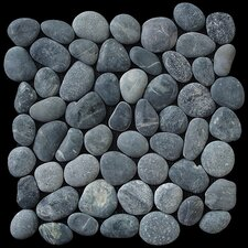 Classic Pebble Random Sized Natural Stone Pebble Tile in Black