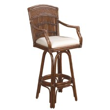 "Polynesian 30"" Swivel Bar Stool with Cushion"