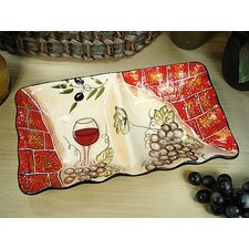 Wine Cheese Ceramic 2 Section Divided Serving Dish
