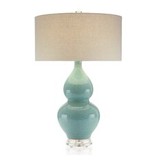 "Double Gourd Ceramic 32.5"" H Table Lamp with Drum Shade"