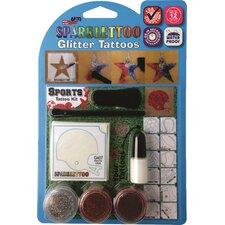 16 Piece Sports Glitter Tattoo Set