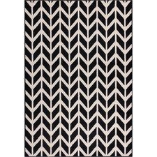 Miami Bourban Chevron Black & White Area Rug