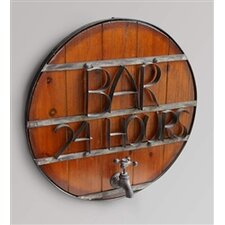 "Round Wood Metal Bound ""Bar 24 Hours"" Wall Sign"