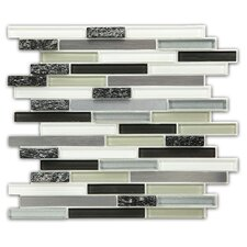 Random Sized Porcelain, Natural stone, Metal, Glass, Ceramic Peel & Stick Mosaic Tile in Gray, White & Silver