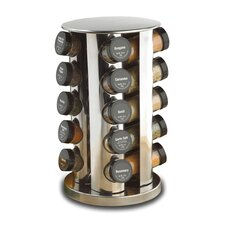 21 Piece Revolving Spice Tower in Stainless Steel